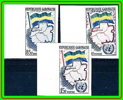 GABON 1961 UNO SC#151-53 MNH imperforated LARGE MARGINS CV$14.00 MAPS, FLAGS