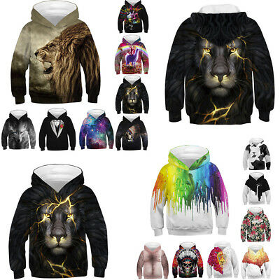Winter Teen Kids Girl Boy Galaxy Cartoon Print Pullover Hoodie Sweatshirt Hot US