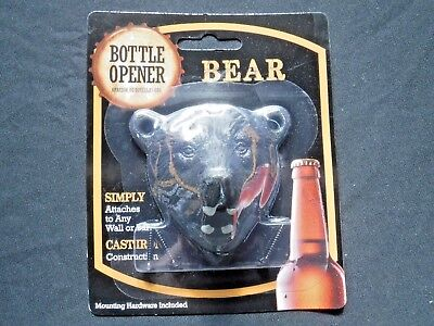 Grizzly Bear Beer Bottle Opener (Cast Iron Wall Mount W/ Screws) Brand New!!!