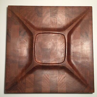 Vintage Danish Digsmed Denmark/Danmark Teak End Grain Wood Divided Serving Tray