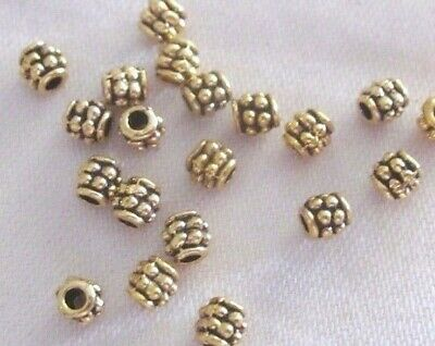 100 Antique Gold Coloured 4mmx4mm Dotted Spacer Beads #sp1825 Jewellery Making
