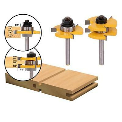 2Pcs Tongue and Groove Router Bits Teeth T Shape Wood Milling Cutter 6A