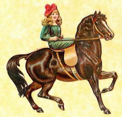 Victorian Scrap, Girl Riding Horse Side Saddle , Approx 10 X 10 Cm ,card Type