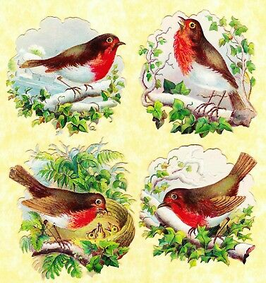 Victorian Scraps, Robins On Branches, Approx 7 X 6 Cm