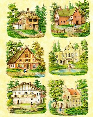 Victorian Scraps,6 Country Houses, Approx 5 X 5 Cm