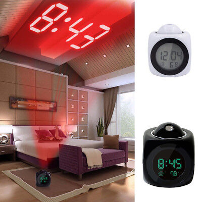 Time Digital LCD Projection Alarm Clock Talking Voice Never Be Late Xmas Gift