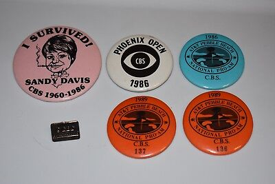 Lot of 6 CBS PINS Golf Operations Pebble Beach Pro Am Phoenix Buttons 1989 1986
