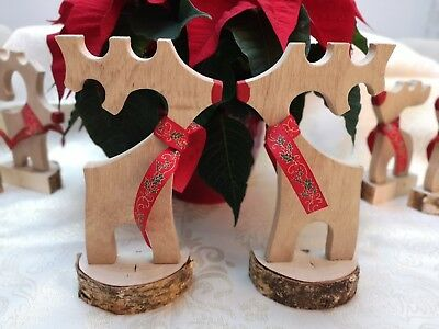 Handmade Solid Oak Wood Rudolph Reindeer Christmas Decoration Stunning