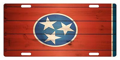 TENNESSEE STATE Flag Custom License Plate AMERICAN Emblem WOOD Version