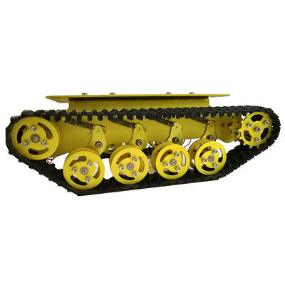 RC Robot Tank Car Chassis Compatible with DC 12V Motor Metal Wheel (Golden)