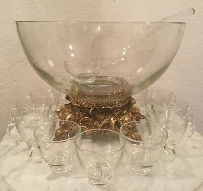 Vintage Pitman-Dreitzer 14 Pieces Crystal Punch Set. Bowl, 11 Cups, Ladle, Stand