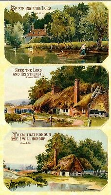 Victorian Scraps,3 Country Scenes With Scripture, Approx 10 X  6 Cm