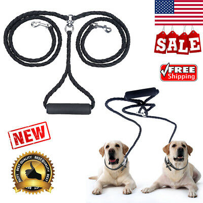 Dual Double Pet Dog Leash No Tangle Coupler Nylon Leads Soft Handle For Two Dogs