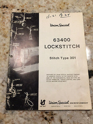 Informational catalog for Union Special 63400 LockStitch type 301 sewing machine