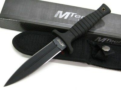 "Mtech MT-097 Black Tactical 9"" Fixed Double Edge Dagger Boot Knife + Sheath"