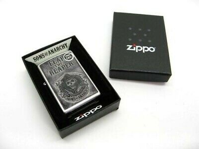 Zippo Satin Chrome Sons Of Anarchy Fear The Reaper Windproof Lighter 28502