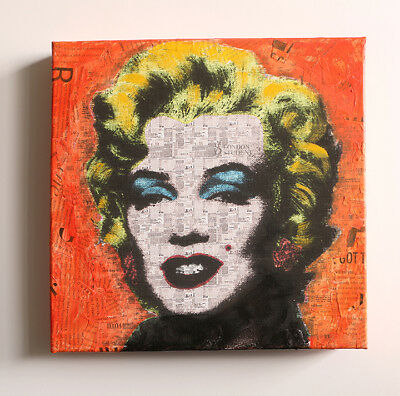 Marilyn Pop Art, Contemporary Art, Original Painting,Acrylic, Collage on canvas