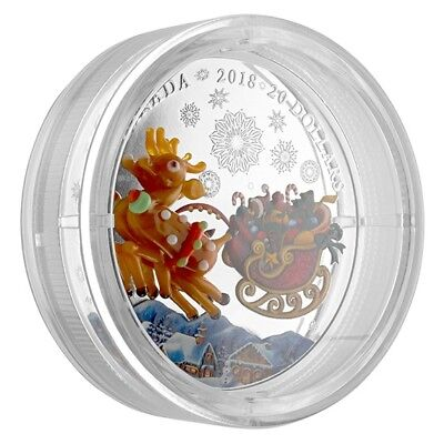 HOLIDAY REINDEER Murano Glass insert $20 Silver Coin 2018 Canada