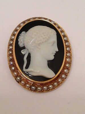 Antique Victorian 15ct Gold Carved Agate Hardstone Cameo Brooch - Circa 1880