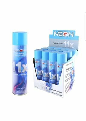 12 cans NEON 11X Butane l w/ FREE Refillable BBQ Lighter