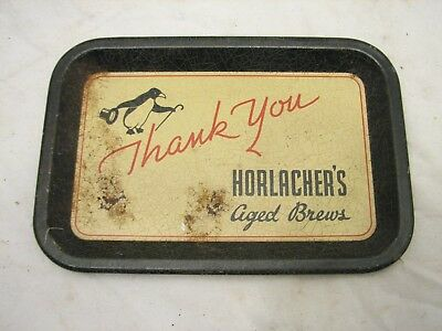 Vintage Advertising Bar Tip Tray Horlacher's Aged Beers Penguin Allentown, PA