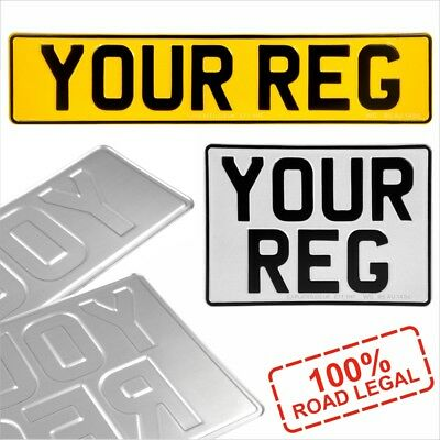 Rear Oblong and Square white 11x8 Pressed Number Plates Metal Car REG Road Legal