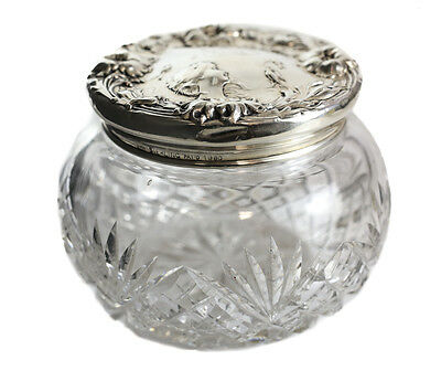 Foster and Bailey Sterling SIlver & Cut Glass Vanity Jar, circa 1900