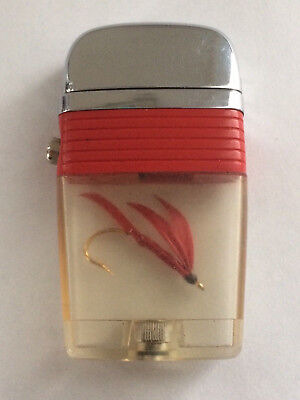 Scripto VU Vintage Fishing Fly Fish Lighter with a Red Band