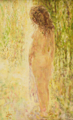 Louis Fabien (French 20th Century) Oil on Canvas Painting of a Nude Beauty, 1967