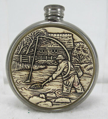 Budd Leather Vintage 4oz English Pewter Hip Flask Fly Fisherman Sheffield NR yqz