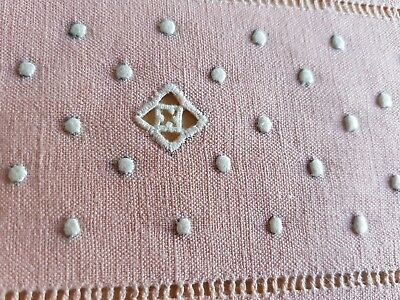 Antique French hand embroidered Linen TABLECLOTH + 5 small napkins SQUARE ROSE