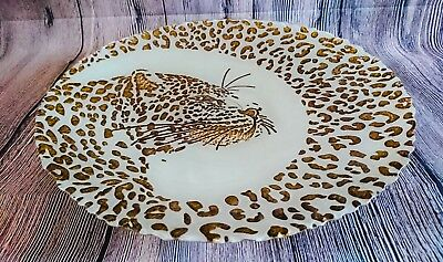 Glass Fruit Bowl Serving Dish Plate Animal Print Ornamental Large NEW Dia.40cm