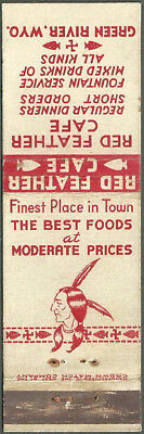pre WWII crown match ~ RED FEATHER CAFE ~ matchbook cover GREEN RIVER wyoming WY