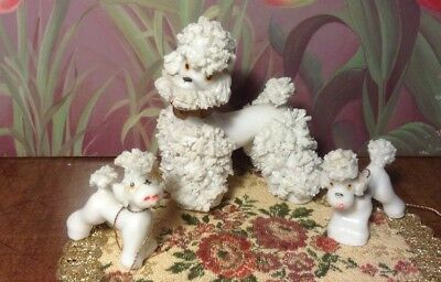 "3 Cute Vintage White Mama Poodle & Pups Spaghetti Porcelain Dog Figurines 3""H"