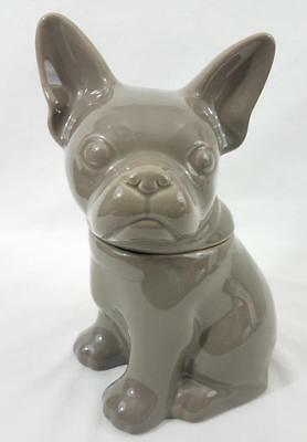 Threshold Stoneware French Frenchy Bulldog Cookie Jar Taupe Gray 2014 Target 10""