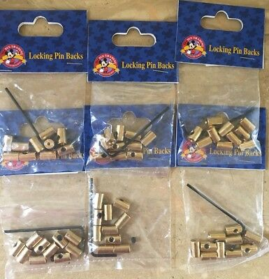 Disney lot of 6 pack of brass locking trading pin backs with key 60 pieces