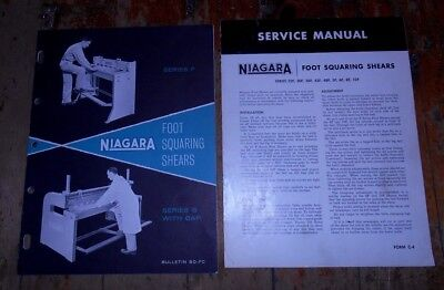 1957 Niagra Foot Squaring Shears Info Specs & Series F Service Manuals