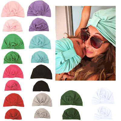 Mommy and Baby Turban Sport Yoga Solid Knotted Cap Hats Newborn Indian Beanie