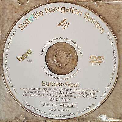 2016-2017  Honda Sat Nav Dvd Navigation Map Update Disc Ver.3.b0 West