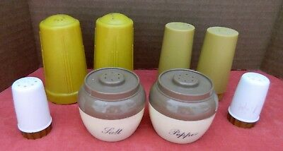 Vintage Plastic Salt & Pepper Shaker Lot of 4 sets - Golds, Beige/Brown, White