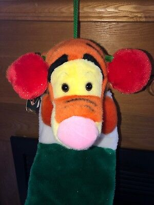 """NEW with Tags Disney Plush Tigger Stocking Christmas Green Red Earmuffs 21"""" 3D"""