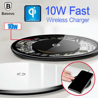 Baseus Qi Wireless Charger Slim Charge Pad For Samsung Note 8 S8+ iPhone X 8 Plu