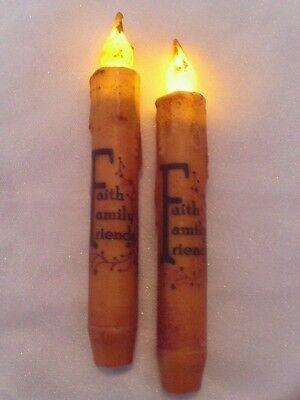 "2 FAITH FAMILY FRIENDS TAPER 6 3/4"" Candles Grungy Cream BEESWAX  Primitive"
