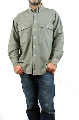 Timberland heavy Cotton Made in USA SHIRT Green vtg 90s Casual WeatherGear M L