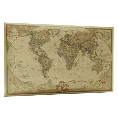 World Map Canvas Prints Oil Painting Matte Kraft Paper Wall Art Home Decoration