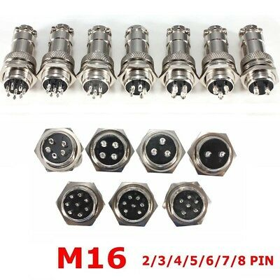 GX16 Aviation Plug Male&Female Wire Panel Metal Connector 2/3/4/5/6/8 Pin 16mm