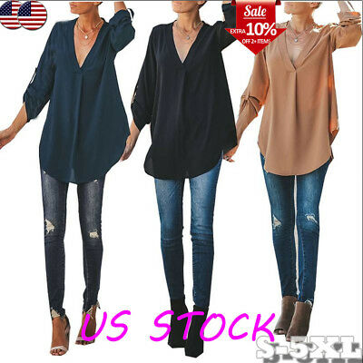 Women's  Loose Tunic Casual Autumn Blouse Loose Tunic Long Sleeve V Neck Tops US