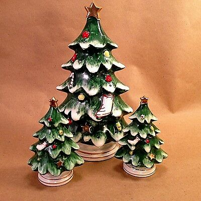 Lefton Vintage Porcelain Christmas Tree Salt & Pepper Toothpick Appetizer Set