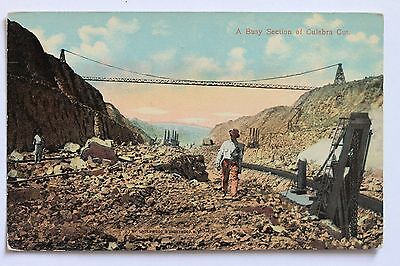 Old postcard A BUSY SECTION OF CULEBRA CUT, PANAMA CANAL ZONE