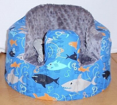 NEW Bumbo Floor Seat COVER-Shark Infested Blue-Safety Strap Ready